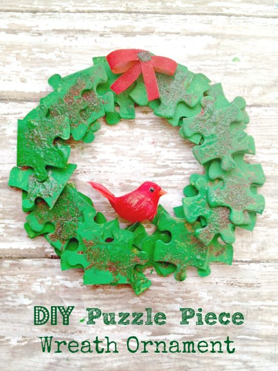 DIY Homemade Puzzle Piece Wreath Ornament - Holiday Craft for Kids