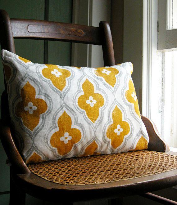 gray and yellow ochre ogee on white linen lumbar by giardino, $ 38.00 >> so pretty!
