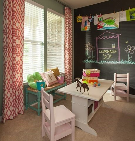 Love the curtains and chalkboard wall