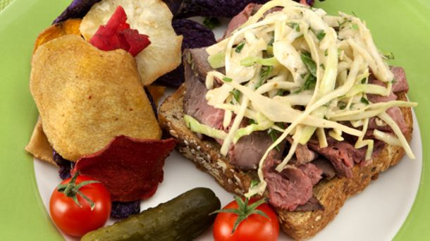 Open-Faced Roast Beef Sandwiches with Horseradish Coleslaw