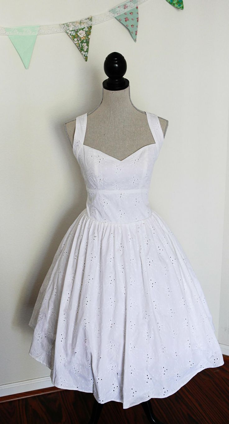 Short Wedding Dress Pin Up Style Cotton Eyelet Lace