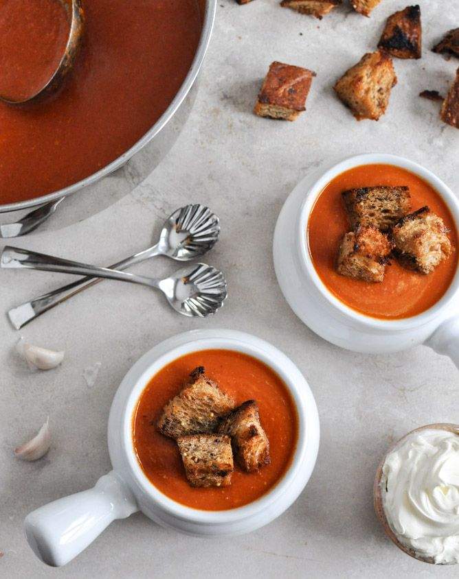 Creamy Tomato Soup with Brown Butter Croutons | How Sweet It Is