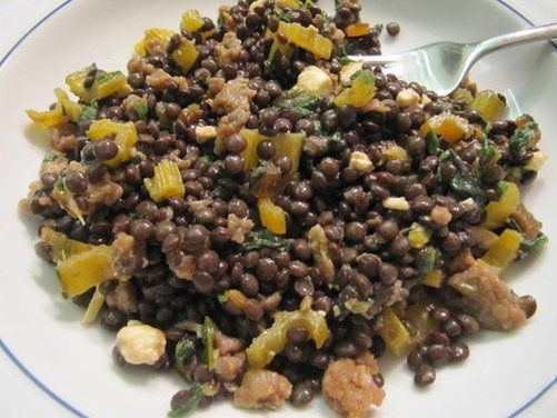 Warm Lentil Salad with Swiss Chard, Feta and Red Wine-Black Pepper Vi ...