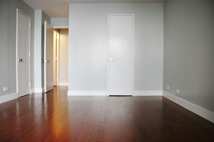 gray walls cherry floor New Home