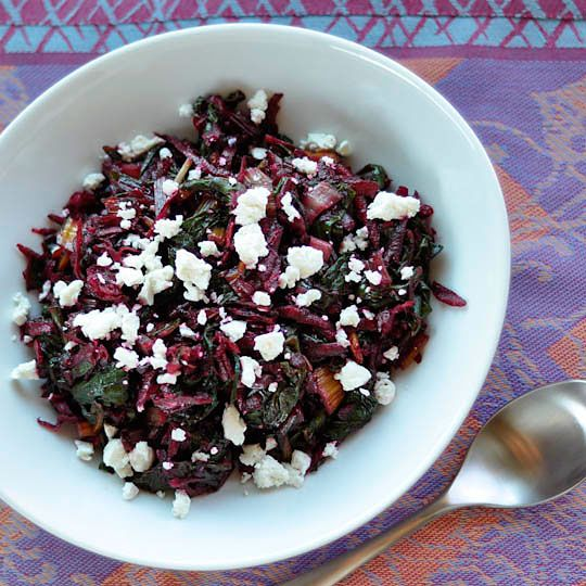 sauteed rainbow chard with raw beets and goat cheese