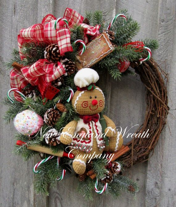 Christmas Wreath Gingerbread Man Holiday Wreath Designer Whimsica
