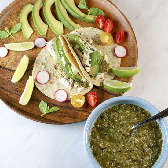 ... chicken + minted tomatillo salsa + tortillas = dinner in 20 minutes