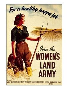 Vintage reproduced womans land army digital art print  wall hanging decoration memorabelia. £4.75, via Etsy.