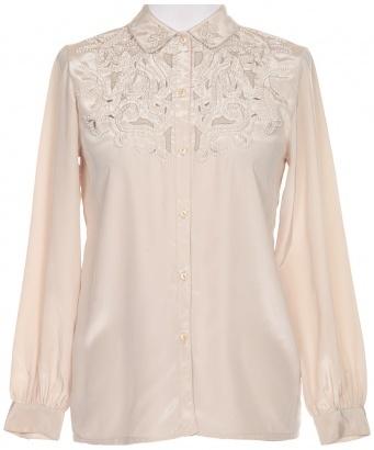 Beige Bead Embellished Blouse - Vintage clothing from Rokit - blouse, shirt,