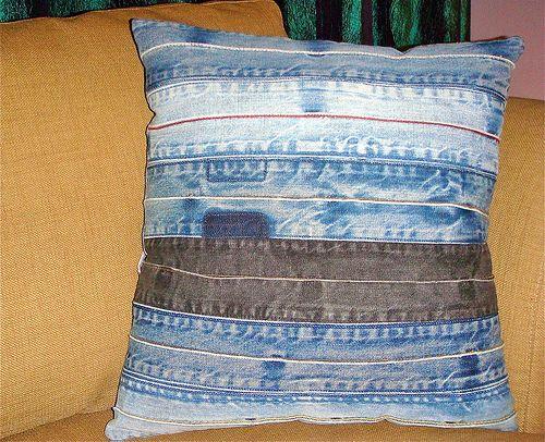 denim strip pillow <3<3<3