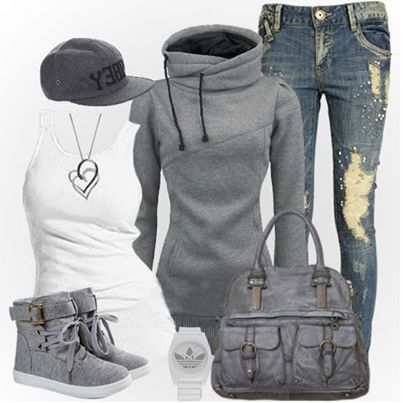 Sporty outfit. Except minus the hat. Not my thing lol       love it! Especially the bag! and maybe different jeans.