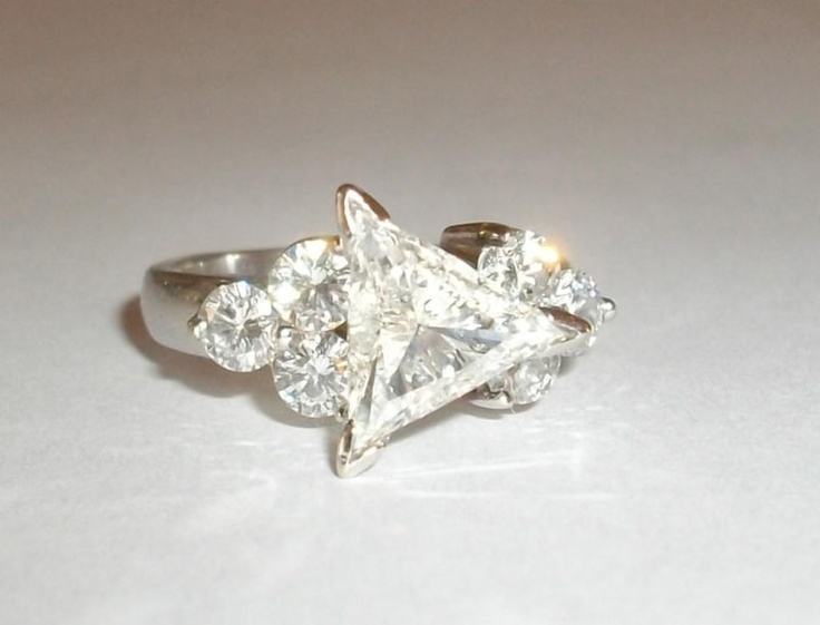 Trillion Cut Diamond VS2 H 2 915cts 18K White Gold Engagement Ring