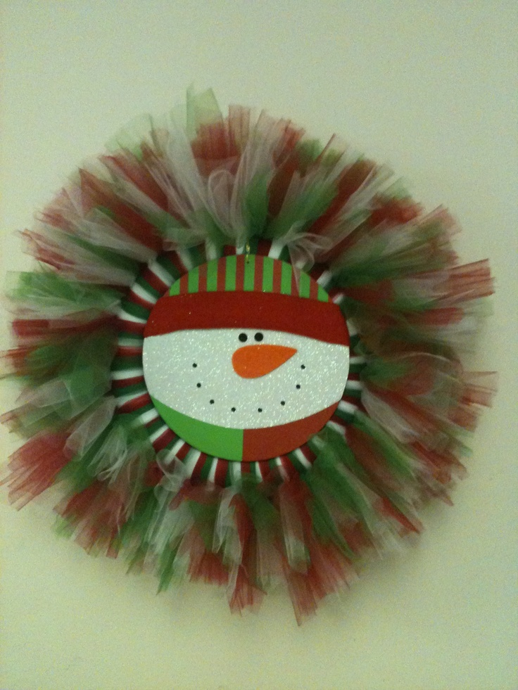 Wreath red white and green tulle and a dollar tree snowman center
