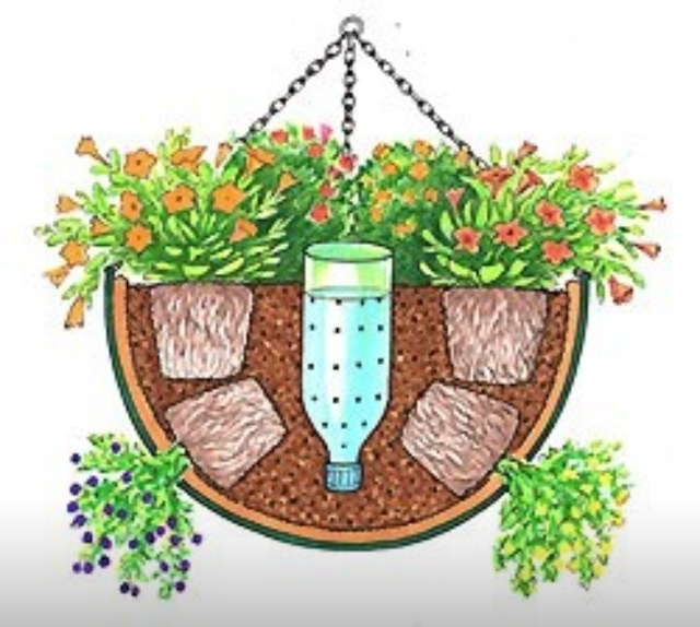 self watering hanging basket for the yard pinterest. Black Bedroom Furniture Sets. Home Design Ideas