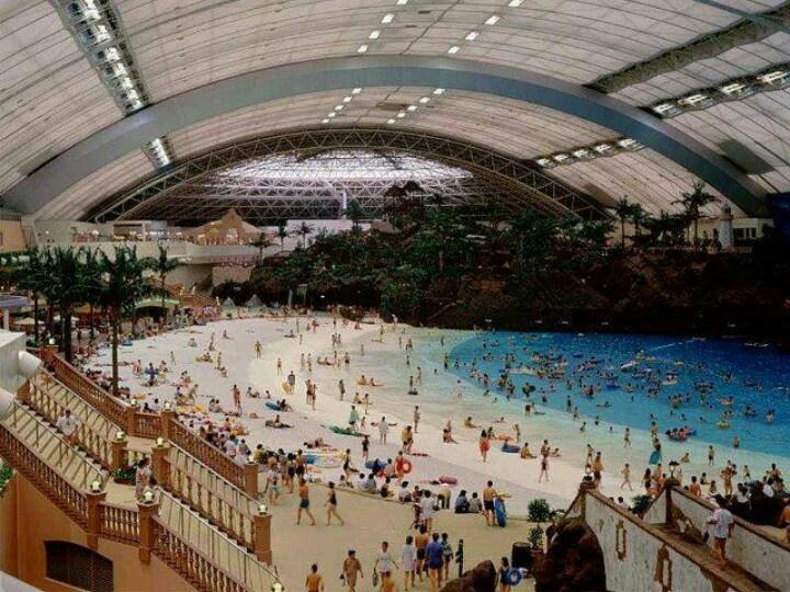 Indoor manmade beach in japan places of interest - Indoor swimming pool berlin ...