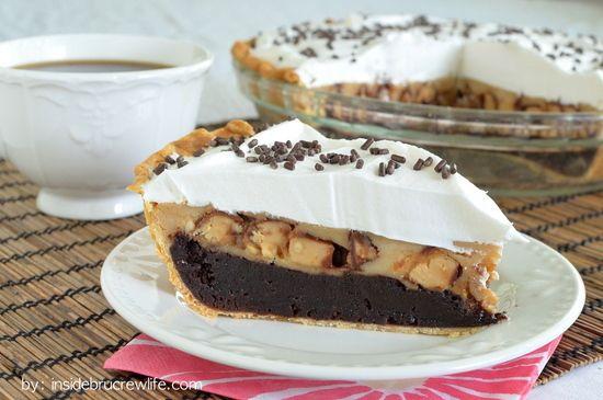 Peanut Butter Snickers Cheesecake Brownie Pie - fudge-y brownie pie ...