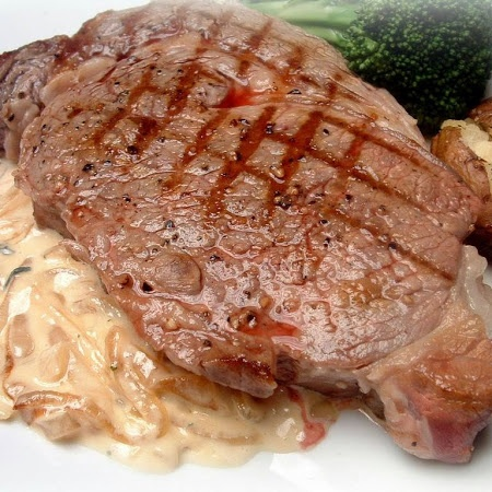 Grilled Ribeye Steak with Onion Blue Cheese Sauce from The Pioneer ...