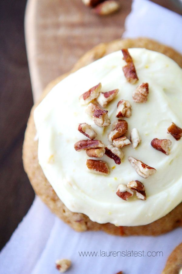 Carrot Cake Pecan Cookies with Orange Cream Cheese Frosting from www ...