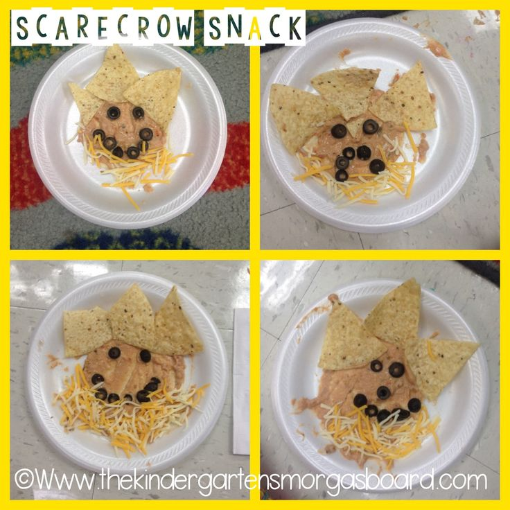 Scarecrow snack!  Super fun and easy snack for fall!