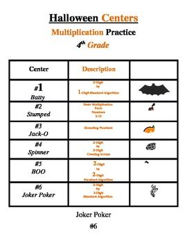 Halloween Multiplication Centers - 4th grade free