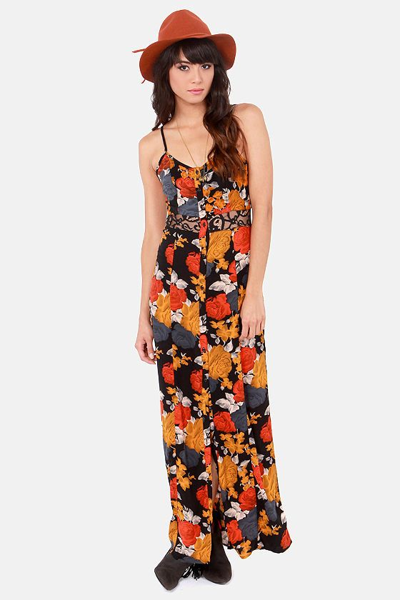 Volcom Take Me Home Black Floral Print Maxi Dress at LuLus.com! #lulusrocktheroad
