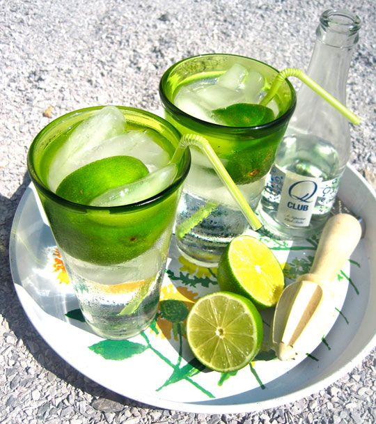 Gin Rickey: Ice 1/2 lime, juiced with rind 1 1/2 to 2 ounces gin Club ...