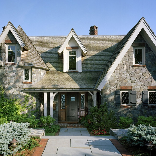 Storybook traditional exterior house exteriors and floor for English stone cottage plans