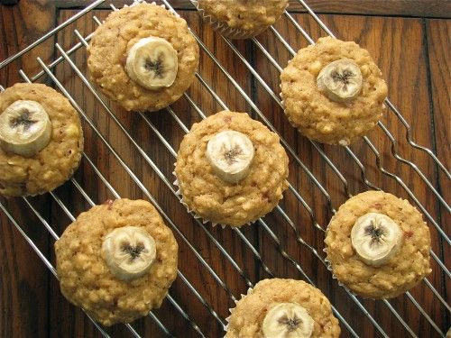 Jam filled, peanut butter and banana muffins. A few easy subs to make ...