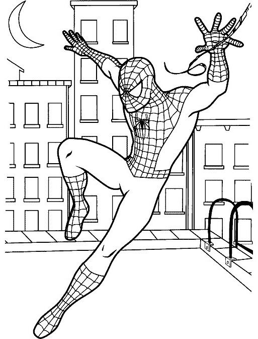 Spiderman nearly fall coloring pages imagination in for Disegni spiderman da colorare gratis