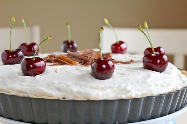 Cherry, Dark Chocolate, Almond and Amaretto Cheesecake Tart