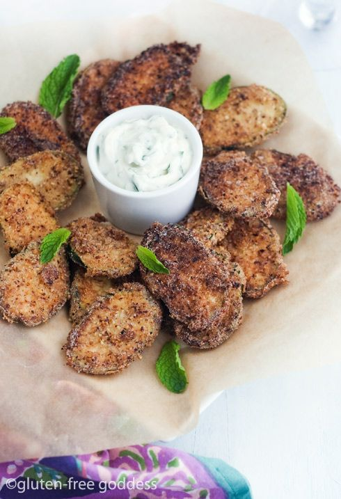 Gluten-Free Goddess Fried Zucchini Chips with Vegan Dipping Sauce (lime + mint)