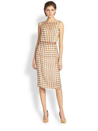Carolina Herrera - Martini-Print Layered Silk Dress - Saks.com