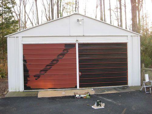 How to paint a garage door for Painted garage doors pictures