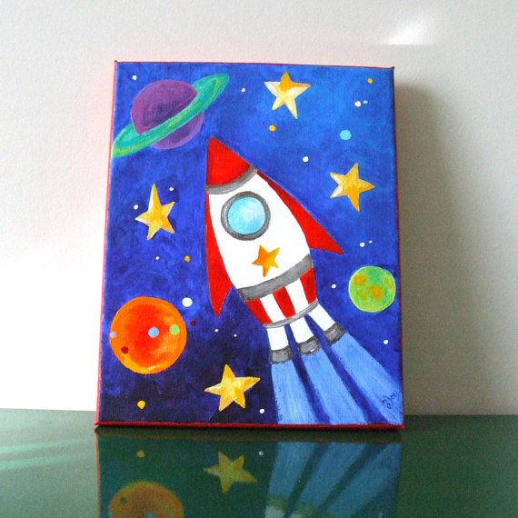 Art for kids rocket ship 8x10 acrylic canvas space for Canvas painting for kids
