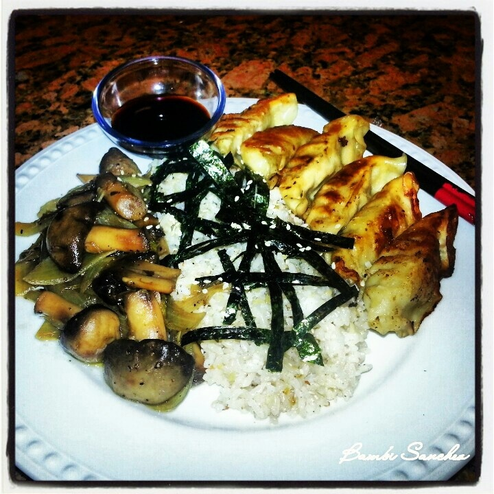 Gyoza, garlic fried rice, caramelized onions and mushrooms!