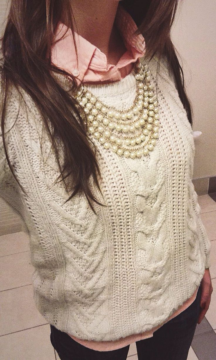 winter layers + pearls