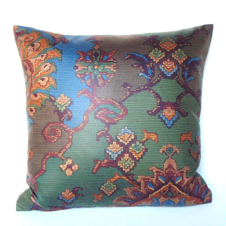 Decorative Pillow Cover - 18x18 - Jewel Tone Blue Green and Brown - Southwestern. $23.00, via Etsy.