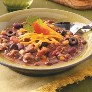 Three-Bean Taco Chili Recipe. Really good! If you want it more soupy ...