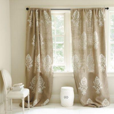 burlap, stencil curtains