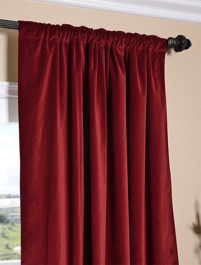 Claret Red Vintage Cotton Velvet Curtain | Gothic Room Ideas | Pinter ...