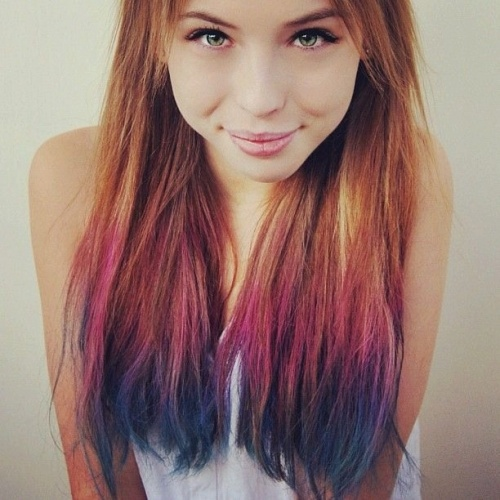 colored hair tips   hair styles   Pinterest