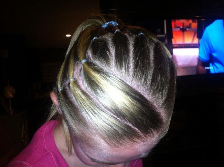competition hairstyle (stripes) Gymnastics hairstyles ...