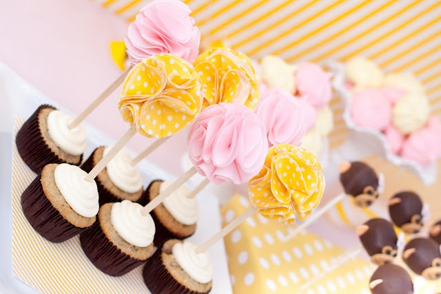 fabric flower cupcake topper
