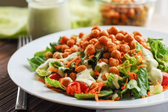 quick and easy buffalo chickpea salad with avocado ranch dressing (gf)