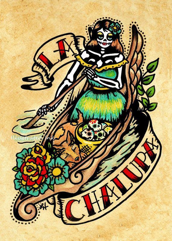 Old school tattoo devil art el diablo loteria print 5 x 7 for Old school day of the dead tattoo