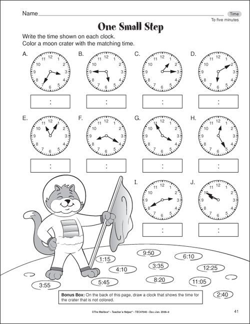 Free time worksheets for 2nd grade