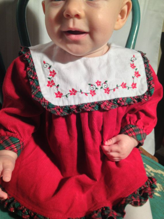Vintage baby infant christmas dress free shipping 3 6 month