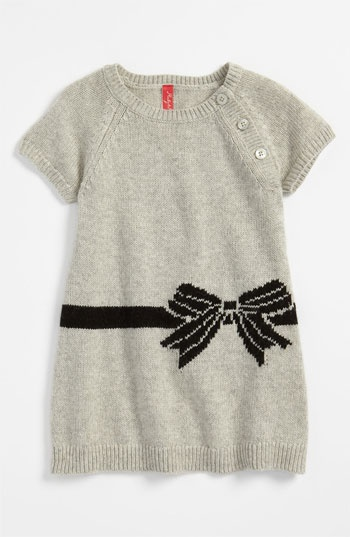 Dress infant girl in ash heather with bow perfect for a little girl