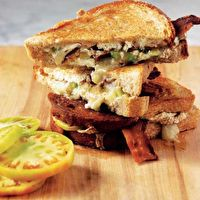 ... Grilled Brie and Goat Cheese with Bacon and Green Tomato by Bobby Flay