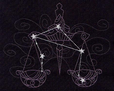 Libra Constellation Embroidered Kitchen/Bathroom Towel